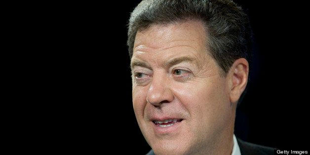 Sam Brownback, governor of Kansas, speaks during a Bloomberg Television interview inside the Bloomberg Link during the Republ