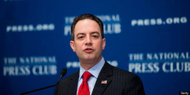 UNITED STATES - MARCH 18: Republican National Committee Chairman Reince Priebus speaks at the National Press Club on the forw