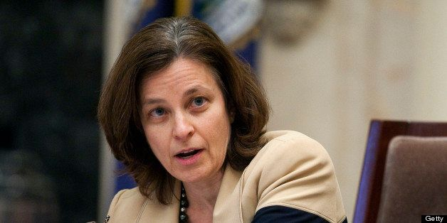 Sarah Bloom Raskin, governor of the of the U.S. Federal Reserve, speaks during an open meeting of the Federal Reserve Board i