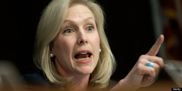 WASHINGTON, DC - JUNE 04:  Sen. Kirsten Gillibrand (D-NY) questions U.S. military leaders while they testify before the Senat