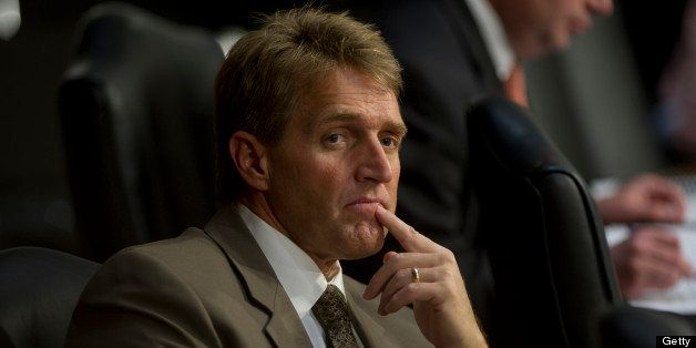 UNITED STATES - April 19 : Sen. Jeff Flake, R-AZ., during the Senate Judiciary full Committee hearing on comprehensive immigr
