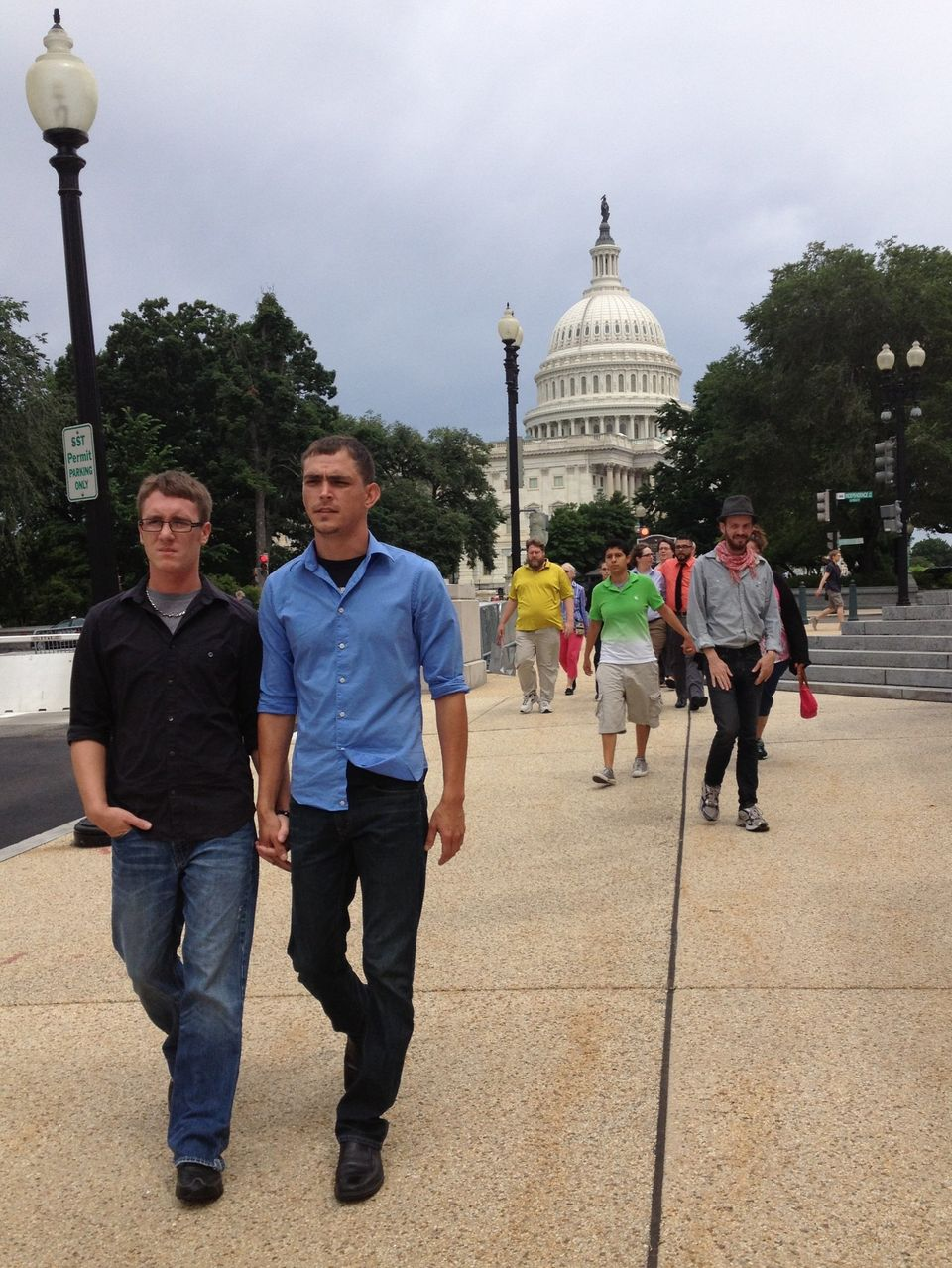 Corey Phillips, 23, and Sean Watkins, 29, were two of the GetEQUAL activists who were arrested on Thursday, June 13, 2013, at