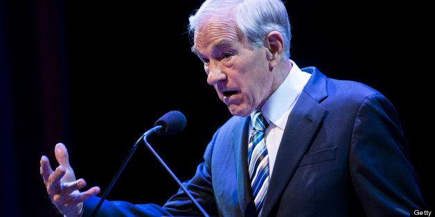 Former US Representative Ron Paul (R-TX) speaks at George Washington University March 4, 2013 in Washington, DC. Paul spoke a