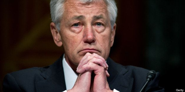 US Defense Secretary Chuck Hagel testifies at a Senate Budget Committee hearing on 'The President's FY2014 Defense Budget Req