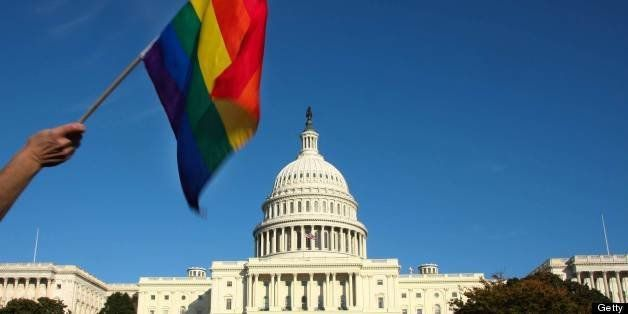 A demonstrator waves a rainbow flag in front of the US Capitol in Washington on October 11, 2009 as tens of thousands of gay