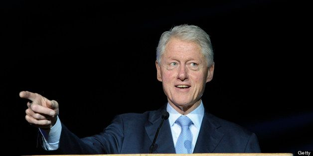 Former US President Bill Clinton speaks on June 17, 2013 at the Peres Academic Center  (EAC) in Rehovot. Clinton came to Isra