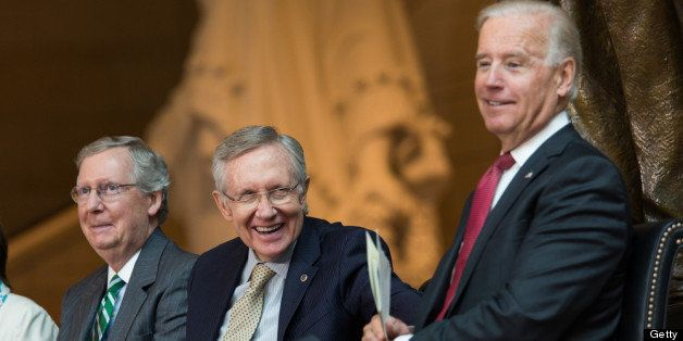WASHINGTON, DC - JUNE 19: (L-R)  Senate Minority Leader Mitch McConnell (R-KY), Senate Majority Leader Harry Reid (D-NV) and