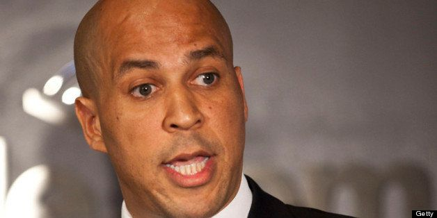 NEWARK, NJ - JUNE 8: Newark Mayor Cory Booker speaks during a news conference to discuss his plans to campaign for the Democr