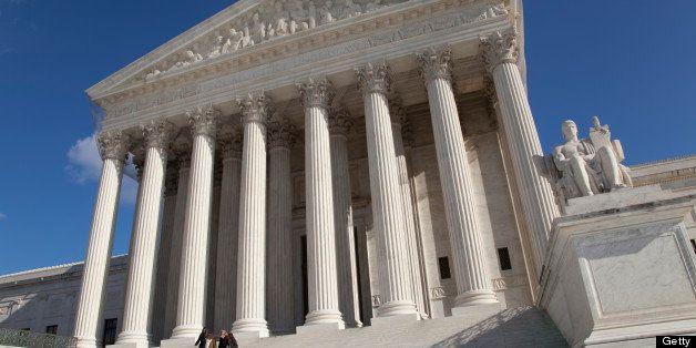 The front facade of the Supreme Court, Washington DC, USA.