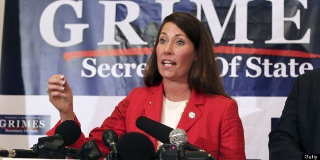 Secretary of State Alison Lundergan Grimes announces she will seek the Democratic nomination to challenge Republican U.S. Sen