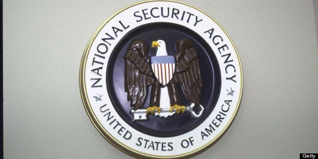 National Security Agency seal hanging on wall.  (Photo by Terry Ashe//Time Life Pictures/Getty Images)