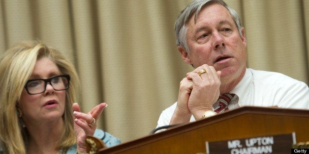 UNITED STATES - JANUARY 22: Rep. Marsha Blackburn, R-Tn., and Chairman Fred Upton, R-Mich., at a House Energy and Commerce Co