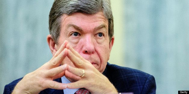 Senator Roy Blunt, a Republican from Missouri, listens to testimony from Penny Pritzker during her confirmation hearing befor