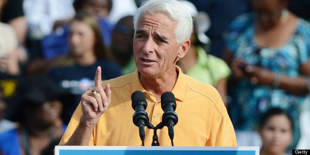 DELRAY BEACH, FL - OCTOBER 23: Former Florida Governor Charlie Crist speaks during a Grassroots Event on October 23, 2012 in