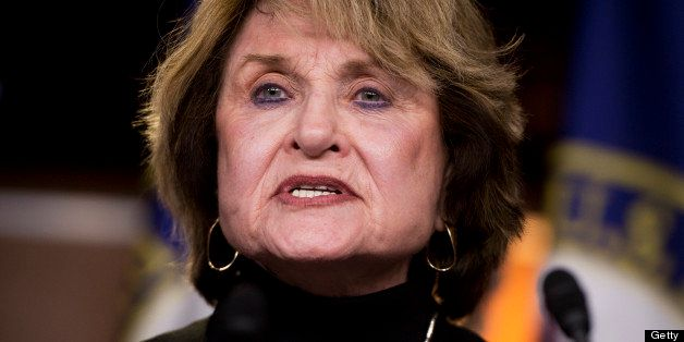 UNITED STATES - FEBRUARY 13: Rep. Louise Slaughter, D-N.Y., speaks at a news conference in the Capitol Visitor Center on the