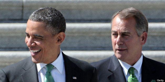 WASHINGTON, DC - MARCH 19:  U.S. President Barack Obama (L) is escorted by U.S. Speaker of the House John Boehner (R-OH) whil
