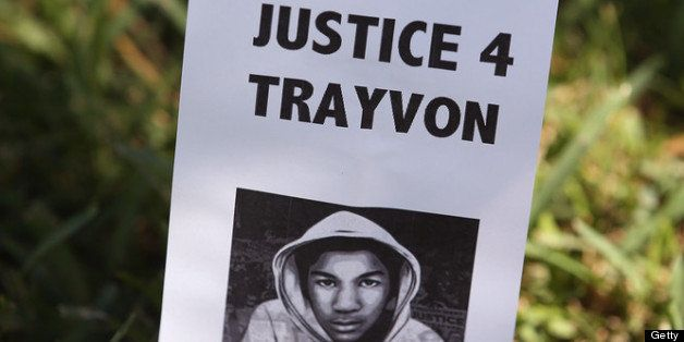 SANFORD, FL - JULY 13: A sign showing support for Trayvon Martin is stuck in the lawn in front of the Seminole County Crimina