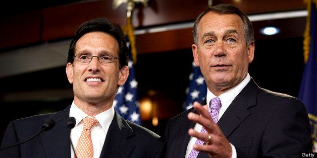 House Speaker John Boehner, a Republican from Ohio, right, and House Majority Leader Eric Cantor, a Republican from Virginia,