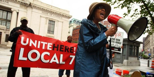 WASHINGTON - AUGUST 18: AFL-CIO Vice Executive President Arlene Holt Baker speaks during a protest in front of a Bank of Amer