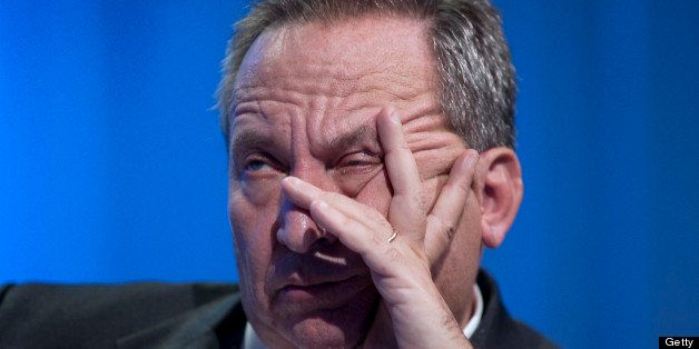 Lawrence 'Larry' Summers, director of the U.S. National Economic Council, listens during a panel discussion on the global eco