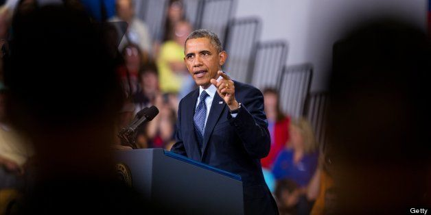 President Barack Obama delivers an address on economics at Knox College in Galesburg, Illinois, on Wednesday, July 24, 2013.