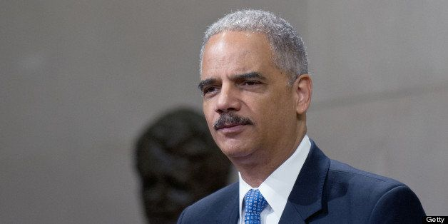US Attorney General Eric Holder speaks at the Justice Department's Lesbian, Gay, Bisexual and Transgender (LGBT) Pride Month