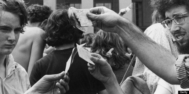Antiwar demonstrators burn their draft cards on the steps of the Pentagon during the Vietnam War, Washington, DC.   (Photo by