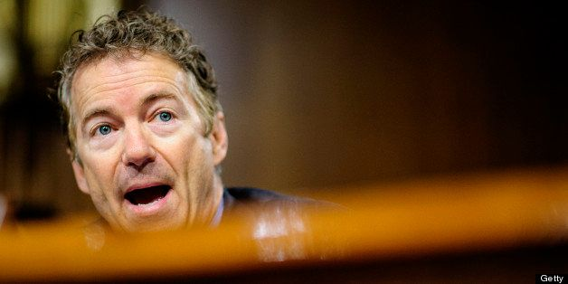 Senator Rand Paul, a Republican from Kentucky, quesions a witness during a Senate Permanent Subcommittee on Investigations he