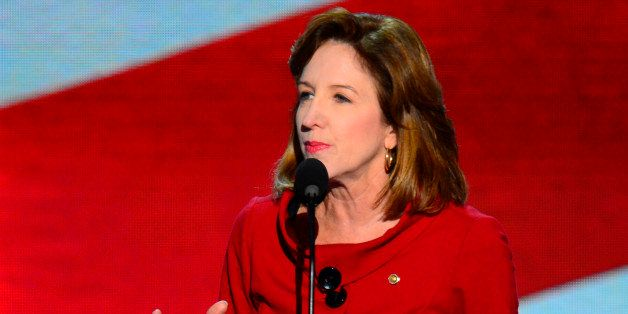 Sen. Kay Hagan (D-NC) speaks at the 2012 Democratic National Convention in Times Warner Cable Arena Thursday, September 6, 20