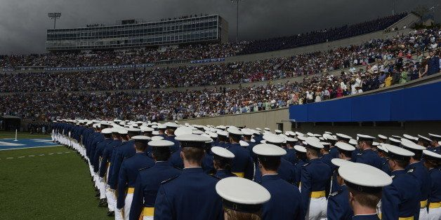 DENVER, CO. - MAY 29: Cadets march onto the field at the start of the United States Air Force Academy graduation ceremony at