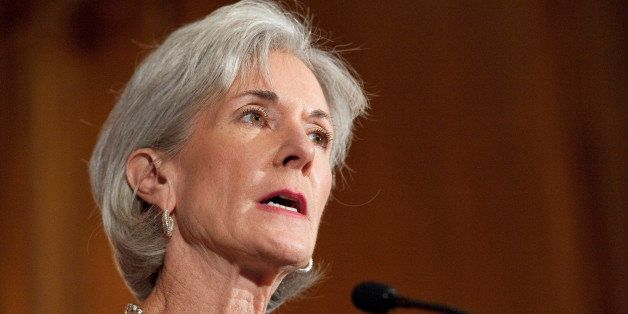 UNITED STATES - SEPTEMBER 23: HHS Secretary Kathleen Sebelius participates in a news conference to announce the implementatio