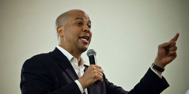 NEWARK, NJ - AUGUST 12: Newark Mayor and U.S. Senate candidate Cory Booker speaks during a campaign rally on August 12, 2013