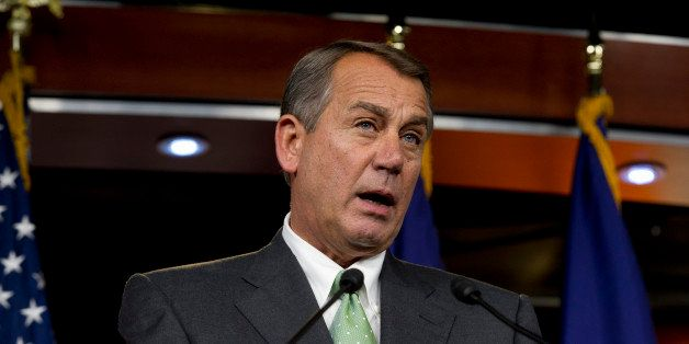 UNITED STATES - July 25 : Speaker of the House John Boehner, R-OH., during his weekly on-camera press briefing with the press
