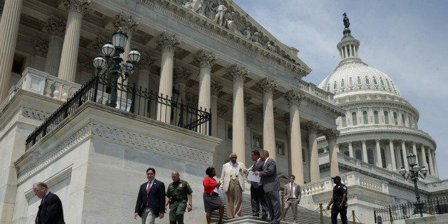 WASHINGTON, DC - AUGUST 02:  Members of the House of Representativs leave the U.S. Capitol as Congress begins its summer rece