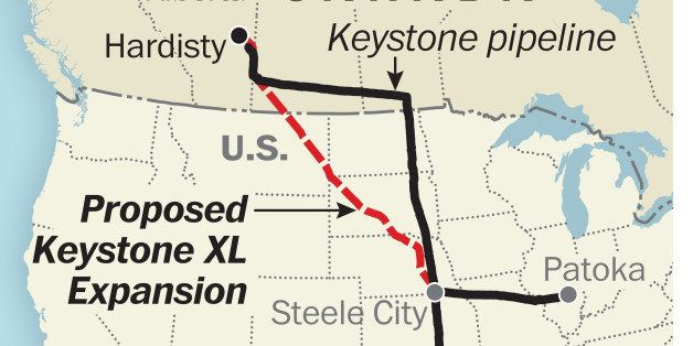 WASHINGTON, DC - AUGUST 6: Proposed Keystone XL Extension map. (Map by Laris Karklis/The Washington Post via Getty Images)