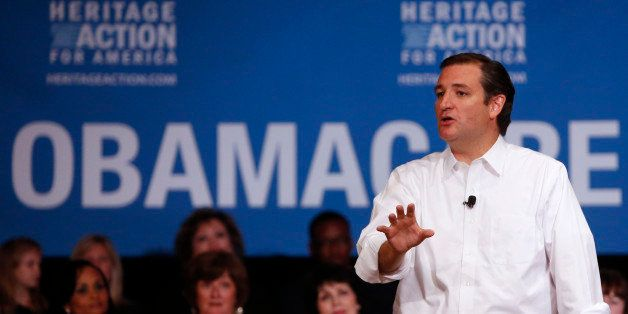 Senator Ted Cruz, a Republican from Texas, speaks at a Heritage Action Defund Obamacare Town Hall event in Dallas, Texas, U.S
