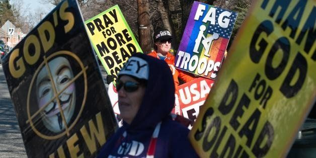 Shirley Phelps-Roper (front) and her daughter Megan of the Westboro Baptist Church, a Kansas church known for its vehement an