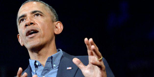 US President Barack Obama speaks on education at University of Buffalo, the State University of New York, on August 22, 2013