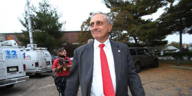 HICKSVILLE, NY- OCTOBER 26: Republican gubernatorial candidate Carl Paladino leaves after addressing his supporters at Americ