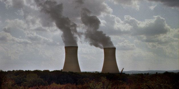 Dual nuclear power plant cooling towers with flowering vegetation in the foreground. Steam is billowing out of both towers an