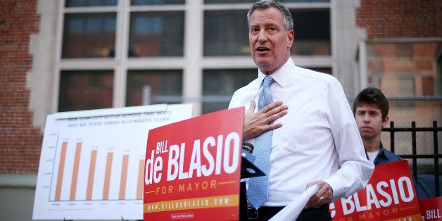 NEW YORK, NY - AUGUST 15:  New York City Public Advocate and Democratic mayoral candidate Bill de Blasio speaks at a press co