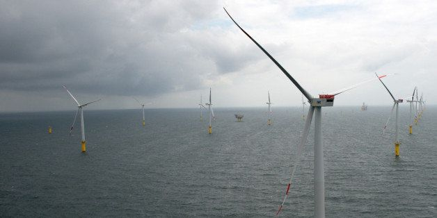 BORKUM, GERMANY - JUNE 23:  Wind turbines stand at the nearly completed Riffgat offshore wind farm in the North Sea on June 2