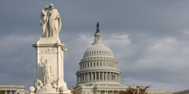 The Peace Monument standing in front of the US Capitol Building, was originally built as a memorial to seamen who died at sea