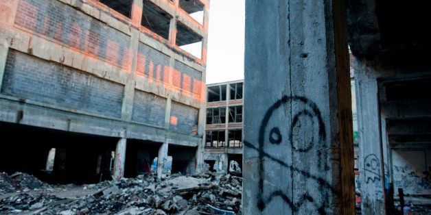 DETROIT, MI - MAY 02: Graffiti decorates the ruins of the Packard Automotive Plant, a 35 acre site where luxury cars were man