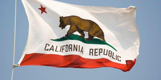 'Subject: California state flag flying in the breezeLocation: California, U.S.A.'