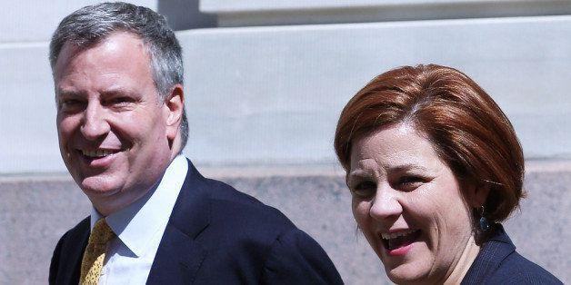 NEW YORK, NY - SEPTEMBER 17:  Christine Quinn (R), New York City Council Speaker and former mayoral hopeful, smiles with Demo