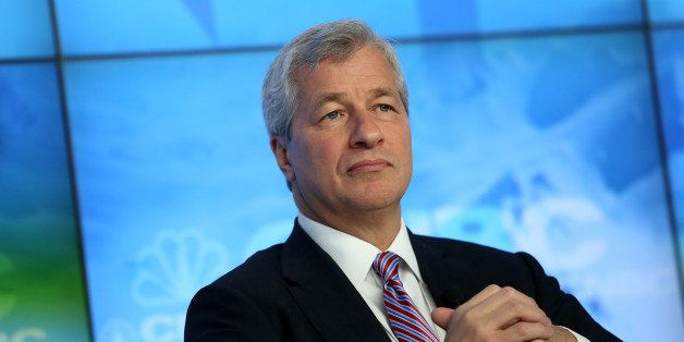James 'Jamie' Dimon, chief executive officer of JPMorgan Chase & Co., listens during a panel discussion on the opening day of