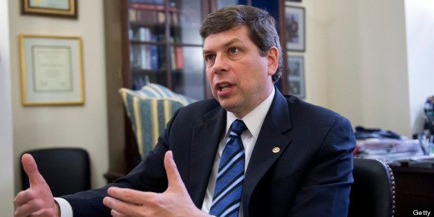 UNITED STATES - FEBRUARY 07:  Sen. Mark Begich, D-Alaska, is interviewed by Roll Call in his Russell Building office. (Photo