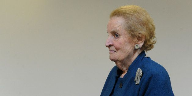 Madeleine Albright, former US Secretary of the State waits for  the president of Indian Bhartiya Janata Party (BJP), Rajnath