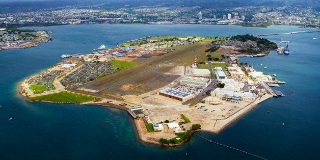 Aerial view of Pearl harbor, Pearl harbor is a lagoon harbour used as a deep water naval base by the US navy and headquarters